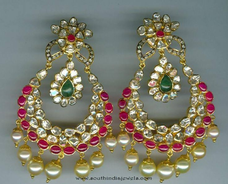 Gold Chandbali Designs, Gold Chandbali Models, Gold Earrings Latest Collections, Gold Earrings Catalog, Gold pearl Earrings Designs, Gold Kundan Chandbalis