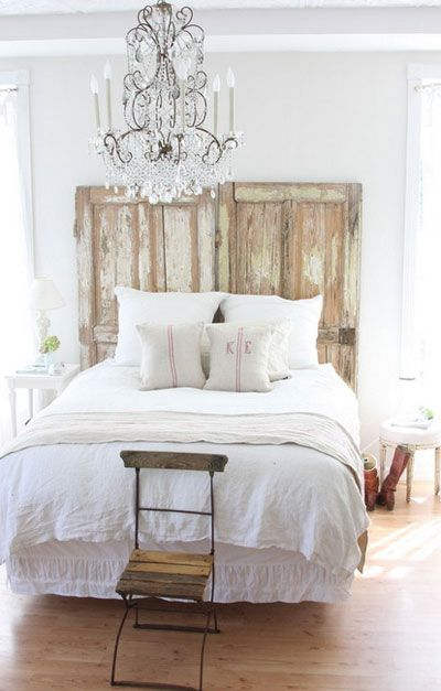 Here s another way to use old doors for a headboard for more diy headboard ideas go to http - Headboard or no headboard ...