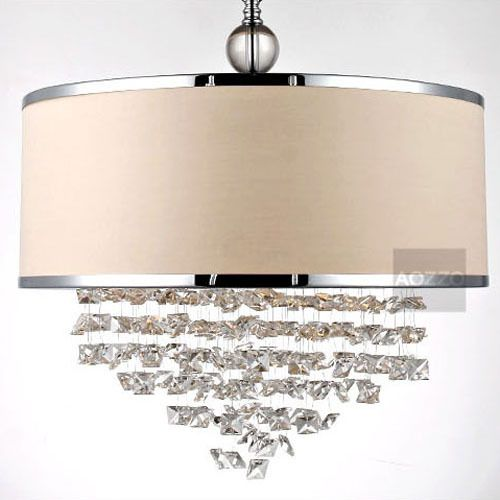 Современные хрустальные висячие подвесные светильники бесплатная доставка бежевый ткань абажур сеть подвеска лампа пышное круглый подвесной светильник