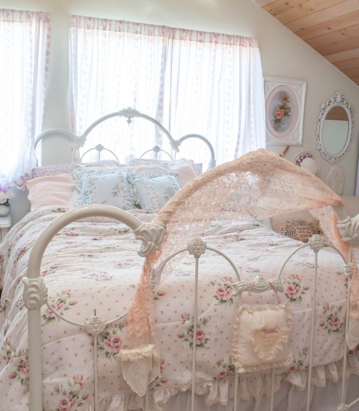Epic Pictures Of Vintage Iron Bed Frame For Bedroom Decoration: Fair Girl Bedroom Decoration Using White Vintage Iron Bed Frame Including Pink Flowery Bed Sheets And White Iron Headboard ~ neytri.net Bedroom Inspiration