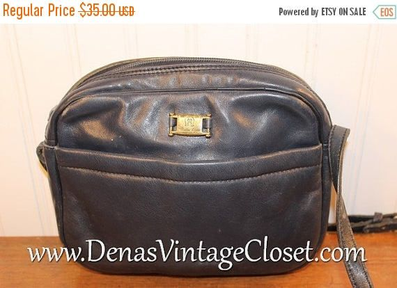 Vintage Etienne Aigner Navy Blue Leather Shoulder Bag Purse