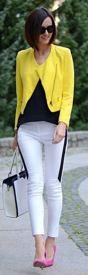 I wont lie I need to be in the mood to wear this. maybe its the yellow jacket and white pants together..but the pink shoe and the black stripe down the pant really pulls this feel in.