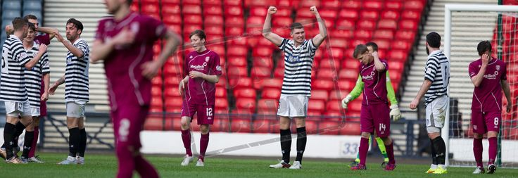 Queen's Park's Ryan McGeever celebrates winning the game after the SPFL League Two game between Queen's Park and Arbroath.
