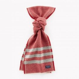 Trapper Wool Scarf / Gray & Red | Red Rolling Pin