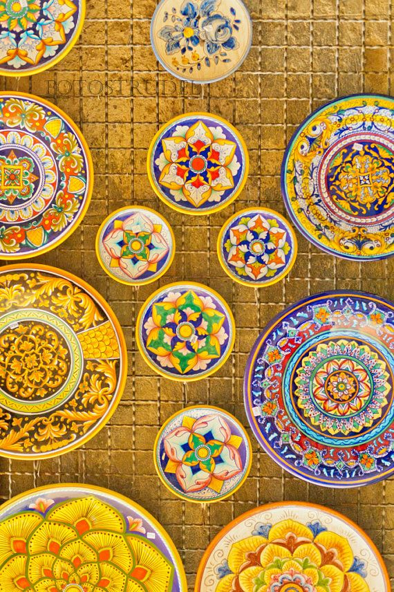 Italy Photograph. Umbrian Plates Colorful Italian by fotostrudel, $30.00