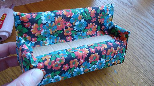 "Making a sofa for my ""ShoeBox dollhouse""  Step 3  Cover with fabric.  (Jo-do you recognize this fabric?)  :)"
