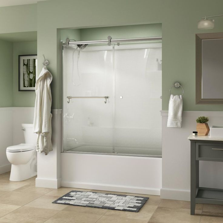 Delta Portman 60 in. x 58-3/4 in. Semi-Frameless Contemporary Sliding Bathtub Door in Chrome with Droplet Glass