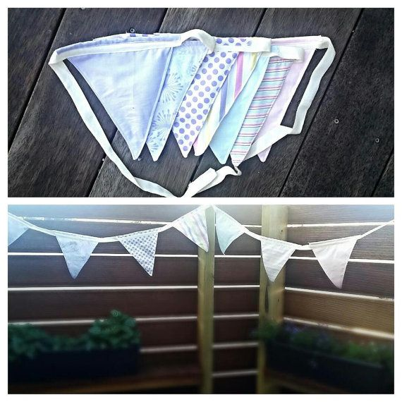 Bunting made by me, with fabric on both sides. So it looks good from all angles and made to last