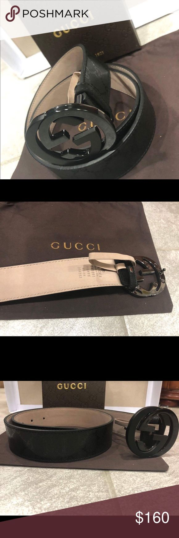 Authentic Men's Black Gucci Belt Imprime Shiny 100% Authentic Mens Gucci Belt  Sizing made easy! Just choose the size u wear in pants.   Comes with box, dust bag and tags!!  From a smoke and pet free home!! Gucci Accessories Belts