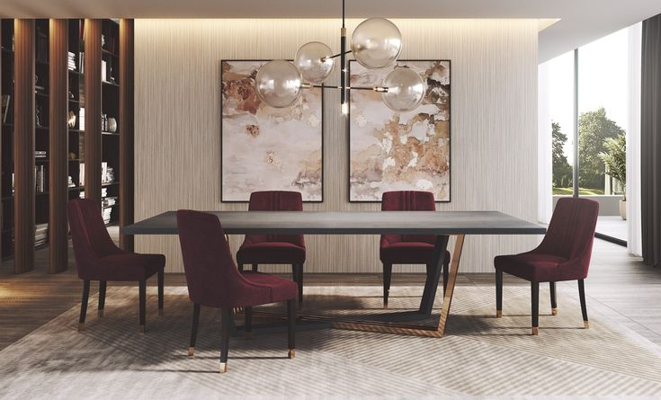 Ruby Dining Room - Ambience | Laskasas | Decorate Life | www.laskasas.com |  Grey and burgundy go together like almost no other two colours. A powerfully put together piece of interior design, this burgundy, grey and gold dining room is more than décor. It's a statement of good taste and the fearlessness to show it, proved by the beautiful suspension lamp above it all.