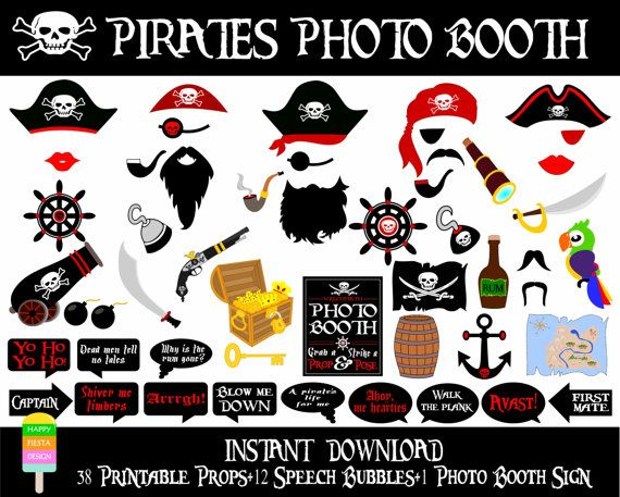The megapack of Pirate Photo Booth props by Happy Fiesta Design is a party must!!...HOW TO THROW A PIRATES' PARTY!! Really great decoration ideas,and fun activities! This would be a great idea for a Halloween party!