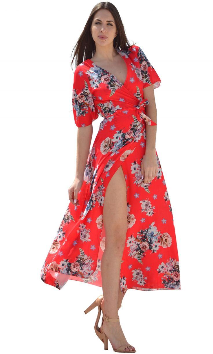 Μάξι φλοράλ κρουαζέ φόρεμα με ανοιχτή πλάτη