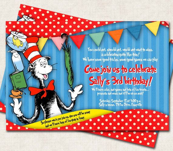 79 best cat in the hat invite images on pinterest personal cat in the hat birthday party invitation bookmarktalkfo Choice Image