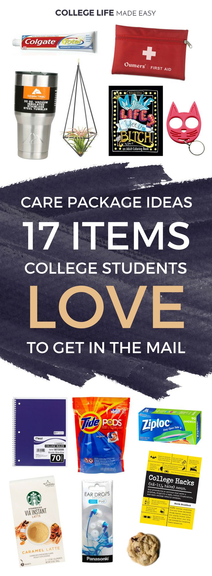 Care Package Ideas: 17 Items College Students Love to Get | College Student Care Package Ideas for Guys for Friends For Girls | Dorm Room Survival Kits | Fun Mail | College Care Package Ideas List Articles Posts | Creative DIY Care Package via @esycollegelife