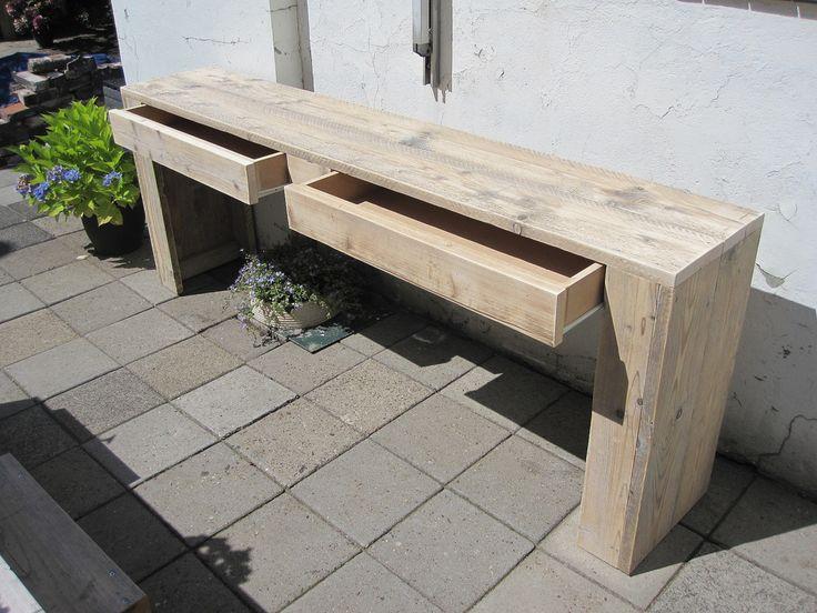 Sidetable met lades 210x40x80 cm   Steigerhout   Te koop bij w00tdesign   por w00tdesign   Meubels van steigerhout