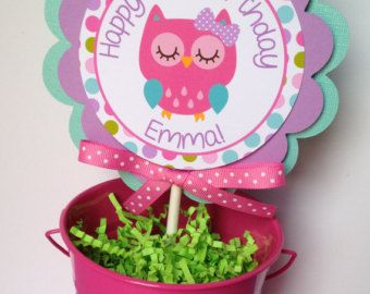 Owl Birthday Party Smash Cake Topper in Pink Purple Teal and