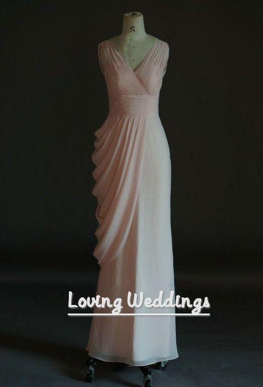 Pink simple long bridesmaid dress chiffon dress by LovingWeddings, $98.00