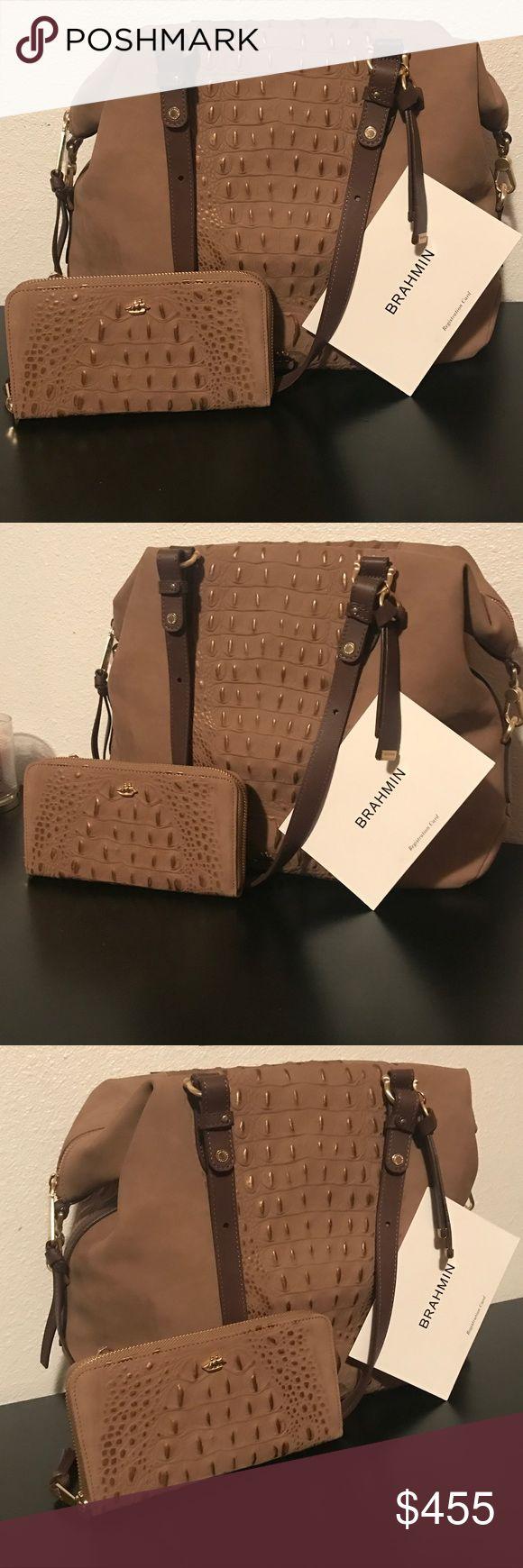 Final Price🍂Brahmin🍂 Brahmin Wilmington Collection   Handbag: •Delaney Satchel •Leather •Zip Closure •Back Slide-In Pocket Outside •Zip pocket,Pen Pocket and Key Clip Inside •Additional Removable Strap •4(H) x 11.75 (L) x 10.75 (D)  Wallet: •Leather •Zip Around Closure •Id Slot, 12 Credit Card Slots, and 2 Slide In Pockets for Cash/Checks •Zip Coin Pocket Outside •7.5 (W) x 4.25 (H) x 1 (D) Brahmin Bags Satchels