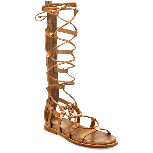 Ash Miracle Studded Leather Tall Gladiator Sandals (173,415 KRW) ❤ liked on Polyvore featuring shoes, sandals, apparel & accessories, camel, gladiator sandals shoes, ash sandals, ash shoes, roman sandals and camel sandals