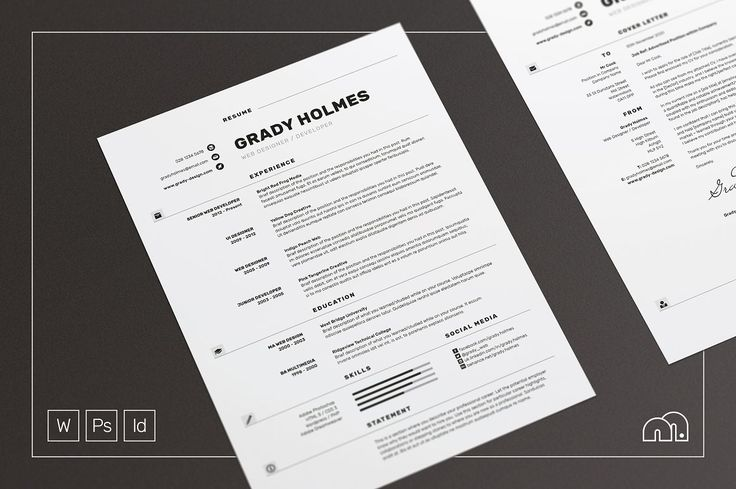 Professional Resume/CV - Cover Letter Template Grady - Resumes. Easy To Edit Template For Word - Photoshop - InDesign.