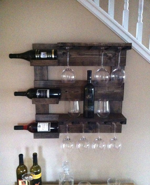 Wine rack rustic wine rack reclaimed wood wall by TheWoodenOwl