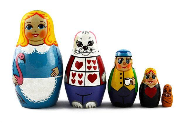 #Matriochka Matrioshka ou poupées Russes en Bois Ensemble de 5 pièces Artisanat Peint à la Main, #Alice au pays des merveilles