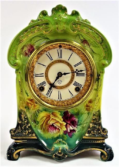 www.liveauctioneers.com item 52145987_ansonia-royal-bonn-china-la-cruz-mantel-clock