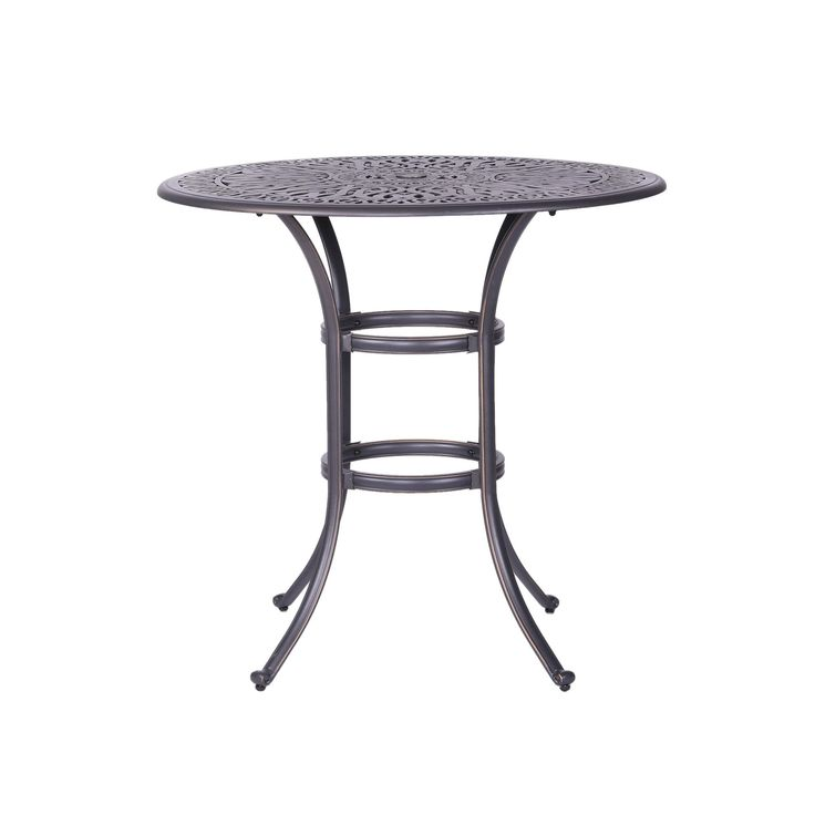 Saratoga Aluminum (Silver) 42 Inch Round Bar Table (gun Metal),