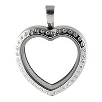 SILVER TONE HEART LOCKET WITH CRYSTALS
