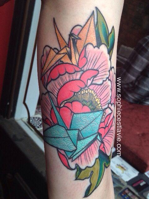 Peony and origami paper crane tattoo by Sophie C'est la Vie. #peony #peonytattoo…