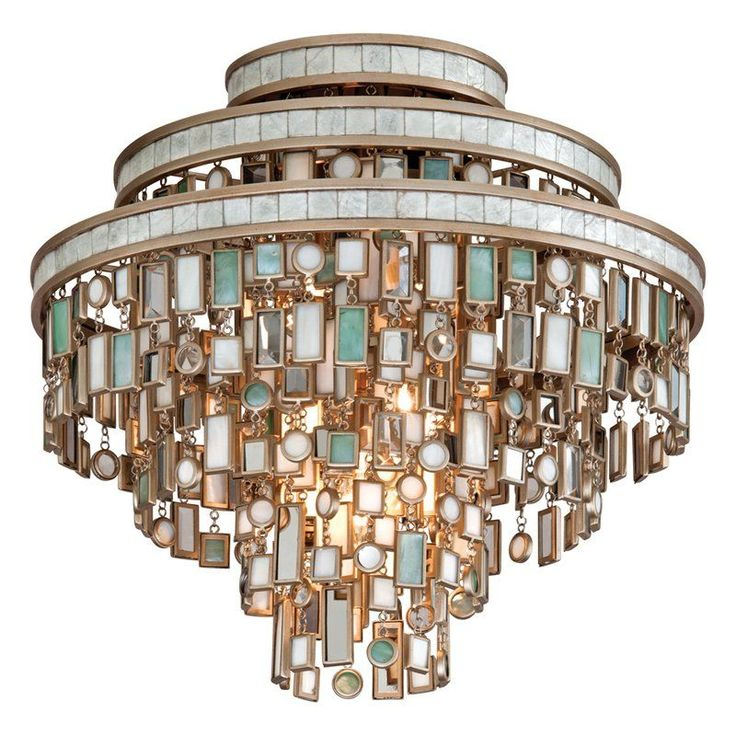 Corbett Lighting 142-33 Dolcetti 3 Light Semi-Flush Ceiling Fixture with Hand Cr Dolcetti Silver Indoor Lighting Ceiling Fixtures Semi-Flush
