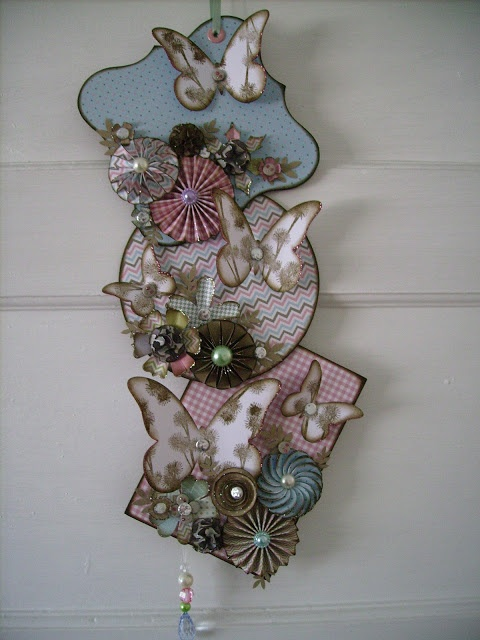 Wall hanging with handmade flowers
