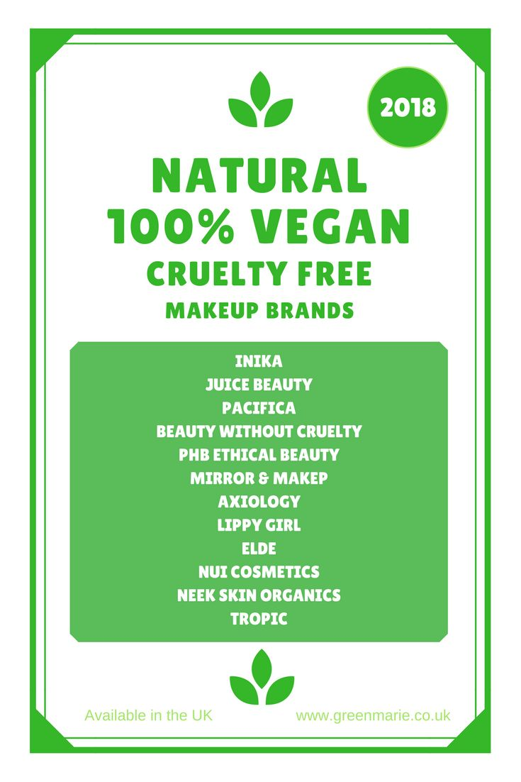 Natural, 100% vegan, cruelty free makeup brands available in the UK, 2018