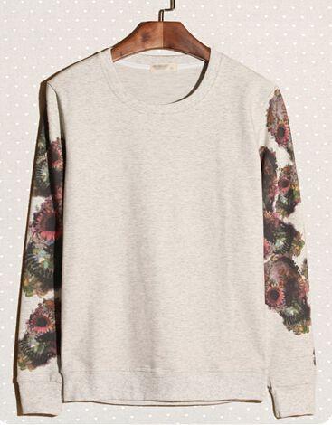 Mens Hoodies 2014 Autumn New Men Hoodies Color Block Flower Pattern Sleeves Vintage Beige Hoodies M-XXL Discount Online Shopping