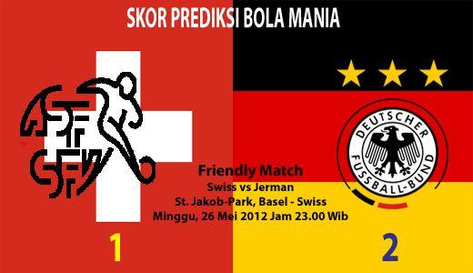 Pada hari Sabtu, 26 Mei 2012, pukul 23.00 WIB, bertempat St. Jakob-Park, Basel - Swiss. Tim nasional Swiss akan menjamu tim Jerman dalam laga persahabatan. Ini merupakan duel pemanasan sekaligus mematangkan skuad mereka saat ini, sebelum dua kontestas Piala Eropa 2012 ini akan berlaga diajang Piala Eropa pada pertengahan Juni 2012 mendatang.