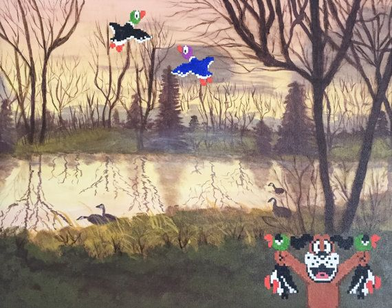 Hunting Season  This print features an altered and enhanced thrift store painting featuring characters from Nintendos Duck Hunt video game. Prints come as: -All prints are handled with the utmost care; packaged beautifully in a paper or plastic sleeve. -Prints 11x14 and smaller are mailed in a sturdy flat mailer -Prints 12x16 and larger are mailed in a thick tube. -Some prints have a white border to preserve the original shape and integrity of the painting -Printed on 80lb satin cardstock…