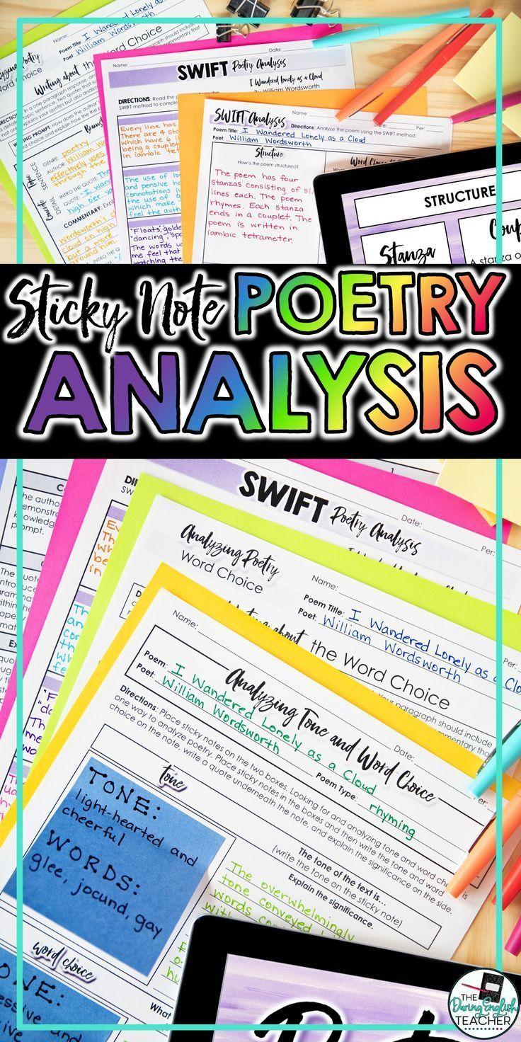 Poetry Analysi Unit With Sticky Note Activitie Writing And Powerpoint Teaching High School Analysis 7 How Doe Paraphrasing Help Reader Understand