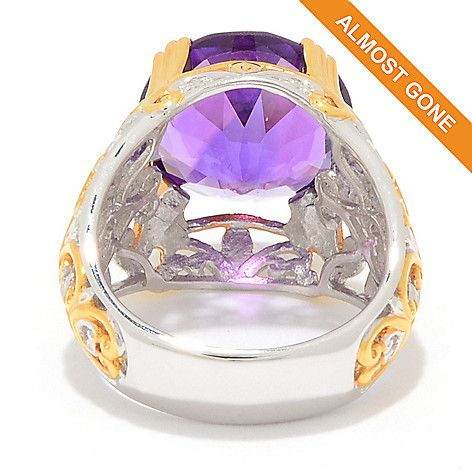 169-676 - Gems en Vogue  5.05ctw Ametista  do Sul Amethyst  & White Zircon  Cocktail Ring