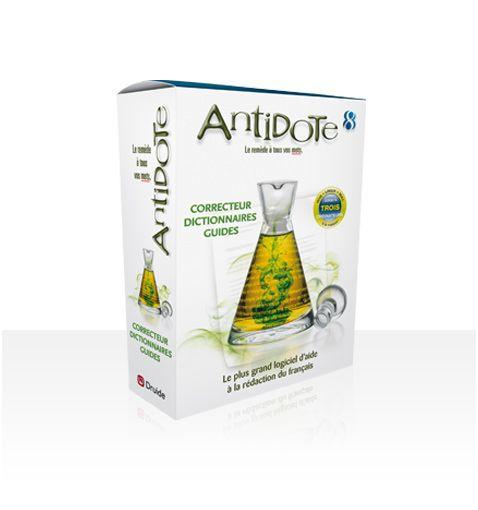 Antidote réunit un correcteur, de grands dictionnaires et des guides linguistiques qui s'ajoutent directement à vos logiciels de rédaction. Antidote, c'est le plus grand logiciel d'aide à la rédaction en français.