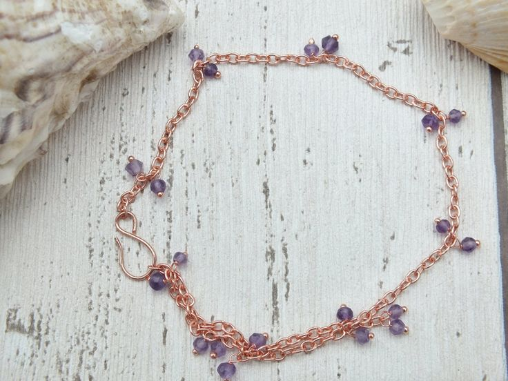 Anklet Chain, Amethyst February Gemstone, Amethyst Ankle Chain, Beach Jewellery, Boho Beach Anklet, Rose Gold Anklet Chain, Purple Jewelry, by AmberlillysHandmade on Etsy