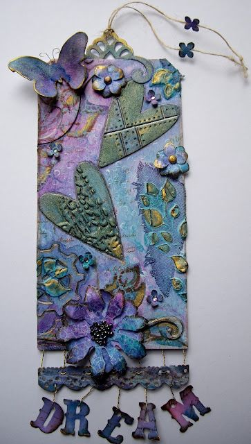 gorgeous dream tag in green, blue & purple