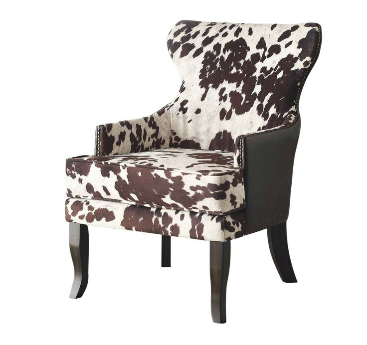 Wrangle some fun into your space with the ANGUS collection! The stylish metal stud detailing, faux leather back and wing-back design will entice you to take a seat while the soft, luxurious, faux cow-hide fabric and comfortable, plush seating will keep you seated for hours. Create a cozy reading area, a conversation corner with two chairs and table, or be a little creative and use two chairs at the ends of a dining table. Available in black or brown.