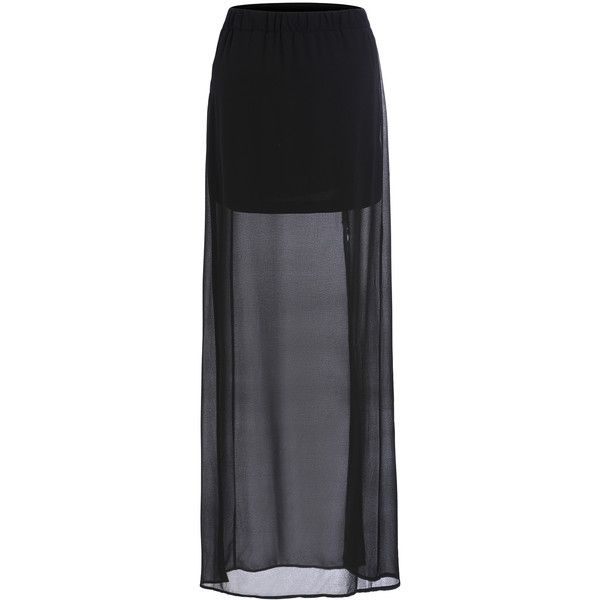 SheIn(sheinside) Black Split Sheer Chiffon Skirt ($17) ❤ liked on Polyvore featuring skirts, bottoms, shein, black, long a line skirt, long black maxi skirt, black skirt, a-line skirt and long maxi skirts