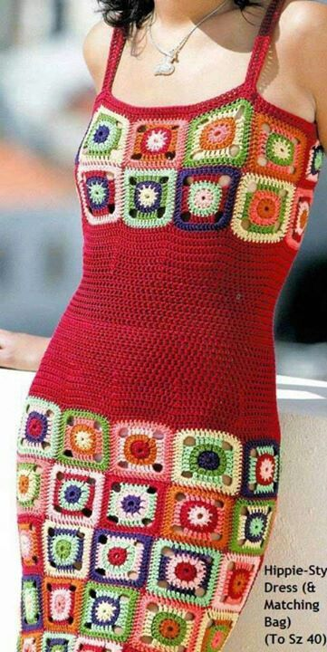 Beautiful granny style #crochet dress. Must do!