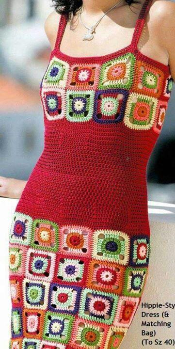 Beautiful granny style #crochet dress. Must do!