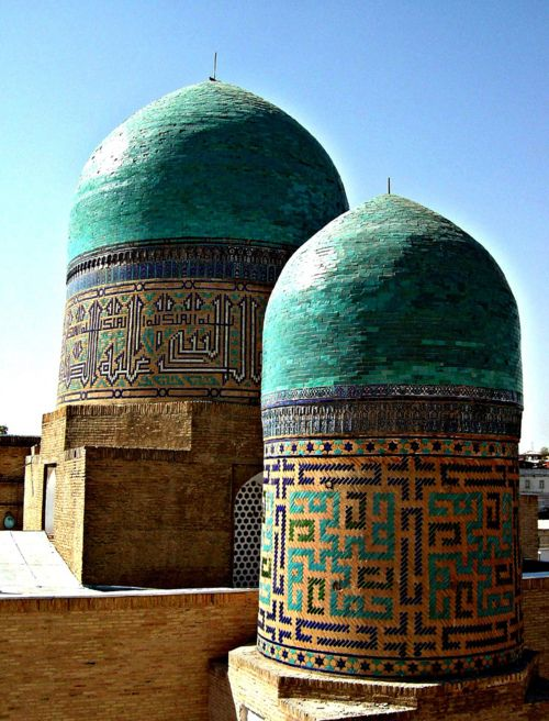 turquoise blue congregational mosque. the kalon in bukhara, uzbekistan.