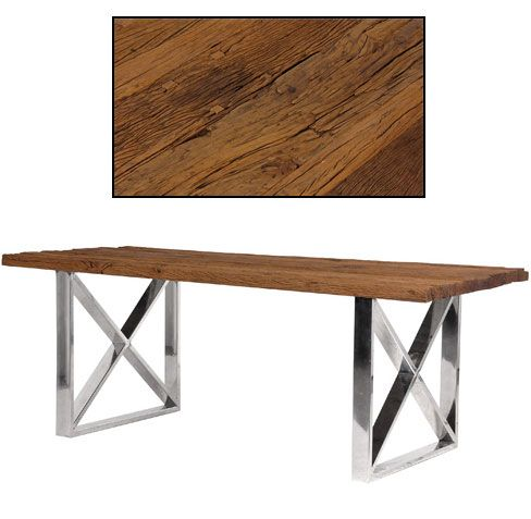 rustic dining table with steel cross legs buy from the french furniture specialist - Furniture Specialist