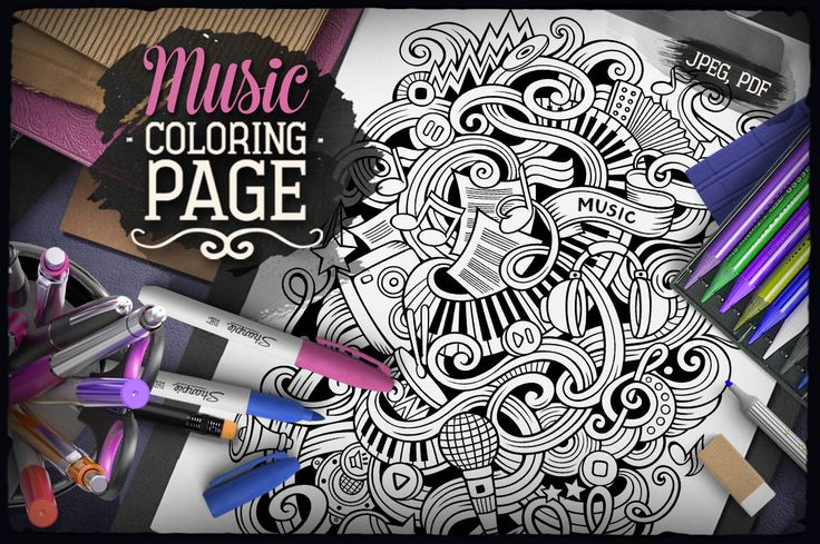 MUSIC Digital Coloring Page Adult Musical Doodles Art Printable Sheet