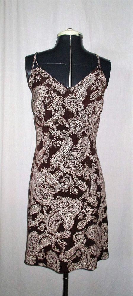 Item ID: 382030240706 Women's (Size Large) FASHION BUG Brown & Tan Paisley Sleeveless Dress   #FashionBug #EmpireWaist #Casual