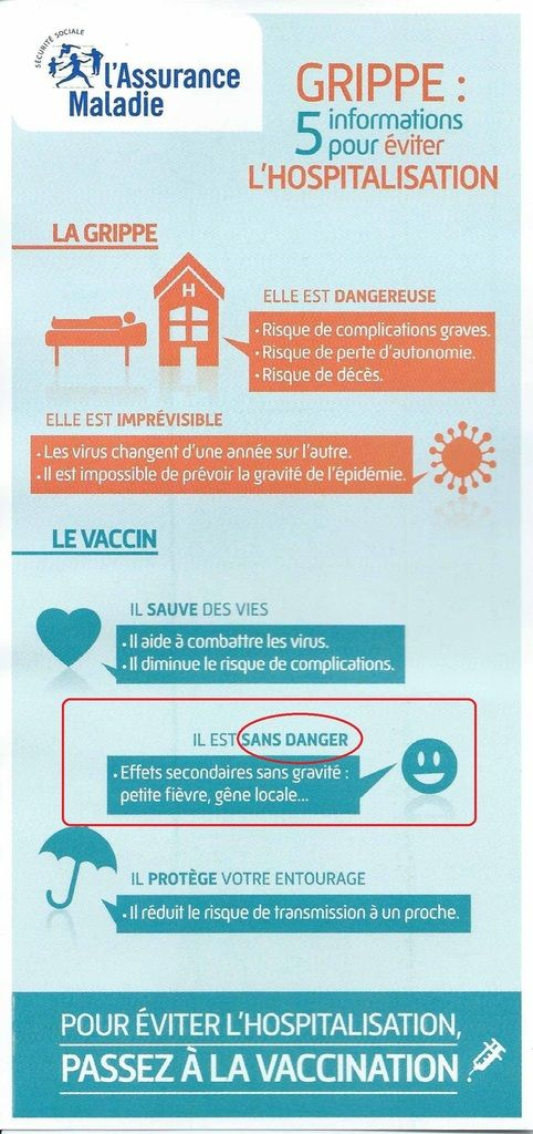 La campagne vaccinale bat son plein: la pub trompeuse passe en boucle sur France Télévisions depuis quelques jours; l'Assurance Maladie a également envoyé un courrier de propagande à pas moins de 10 millions de personnes en France, peut-être à vous ou...